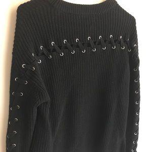Black PacSun Lace-Up Sweater